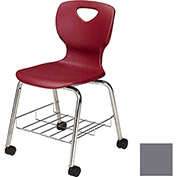 "Allied Plastics CHOICE™ Series Poly Stack Chair with Bookrack & Casters - 18"" - Platinum - Pkg Qty 4"