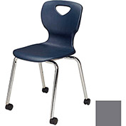 "Allied Plastics CHOICE™ Series Poly Stack Chair with Casters - 18"" - Platinum - Pkg Qty 4"