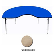 "Activity Table - Kidney - 48"" x 96"", Standard Adj. Height, Fusion Maple"