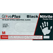 Ammex® GlovePlus Powder-Free, Industrial Grade Nitrile, Black, Large, 100/Box, 10 Box/CS