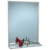 """ASI® Stainless Steel Angle Frame Mirror with Shelf - 16""""Wx24""""H - 0605-1624"""