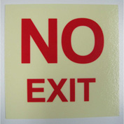 """NO EXIT"" Rigid PVC Sign, Self-Adhesive, 5""W x 5""L, Photoluminescent Yellowish/Red"
