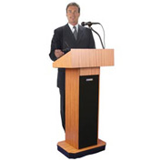 Executive Sound Column Podium / Lectern- Medium Oak