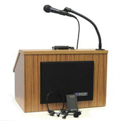Wireless Folding Podium / Lectern with Carrying Case - Oak