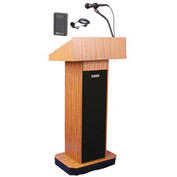 Wireless Executive Sound Column Podium / Lectern- Medium Oak