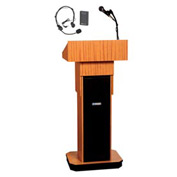 Wireless Executive Adjustable Height Podium / Lectern - Medium Oak