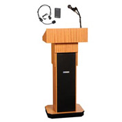 Wireless Executive Adjustable Height Podium / Lectern - Light Oak