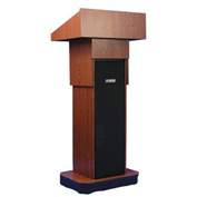Executive non-sound Column Podium / Lectern - Mahogany