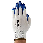 HyFlex® 15-Gauge Nylon Gloves, Ansell 11-900, Blue Nitrile Palm Coat, Knitwrist, SZ 8, 1 Pair - Pkg Qty 12