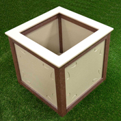 Polly Products Two-Toned Square Planter, Brown/Sand