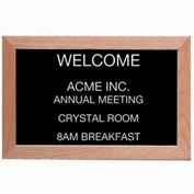 "Aarco Red Oak Framed Letter Board Message Center - 18""W x 12""H"