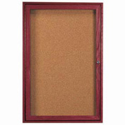"Aarco 1 Door Cherry Enclosed Bulletin Board - 18""W x 24""H"