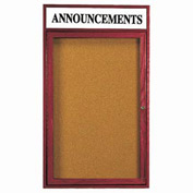 "Aarco 1 Door Cherry Enclosed Bulletin Board w/ Header - 18""W x 24""H"