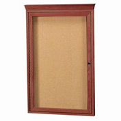 "Aarco 1 Door Red Cherry Bulletin Board w/ Crown Molding - 24""W x 36""H"
