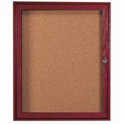 "Aarco 1 Door Cherry Enclosed Bulletin Board - 36""W x 30""H"