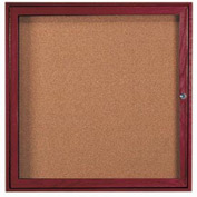 "Aarco 1 Door Cherry Enclosed Bulletin Board - 36""W x 36""H"