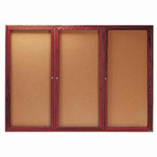 "Aarco 3 Door Cherry Enclosed Bulletin Board - 72""W x 48""H"