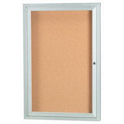 "Aarco 1 Door Framed Enclosed Bulletin Board - 18""W x 24""H"
