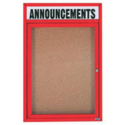 "Aarco 1 Door Aluminum Framed Bulletin Board w/ Header Red Powder Coat - 18""W x 24""H"