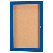 "Aarco 1 Door Framed Illuminated Enclosed Bulletin Board Blue Powder Coat - 18""W x 24""H"