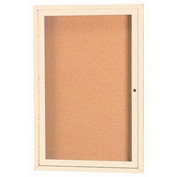 "Aarco 1 Door Framed Enclosed Bulletin Board Ivory Powder Coat - 18""W x 24""H"