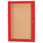 "Aarco 1 Door Framed Enclosed Bulletin Board Red Powder Coat - 18""W x 24""H"