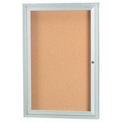"Aarco 1 Door Framed Enclosed Bulletin Board - 24""W x 36""H"