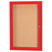 "Aarco 1 Door Framed Enclosed Bulletin Board Red Powder Coat - 24""W x 36""H"