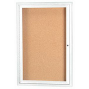 "Aarco 1 Door Framed Enclosed Bulletin Board White Powder Coat - 24""W x 36""H"