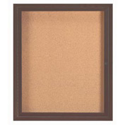 "Aarco 1 Door Framed Enclosed Bulletin Board Bronzed Anod. - 30""W x 36""H"