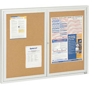 "Aarco 2 Door Framed Enclosed Bulletin Board - 48""W x 36""H"