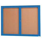 "Aarco 2 Door Framed Enclosed Bulletin Board Blue Powder Coat - 48""W x 36""H"