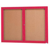 "Aarco 2 Door Framed Enclosed Bulletin Board Red Powder Coat - 48""W x 36""H"