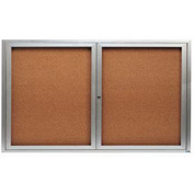 "Aarco 2 Door Framed Illuminated Enclosed Bulletin Board - 60""W x 36""H"