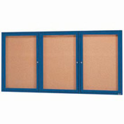 "Aarco 3 Door Framed Enclosed Bulletin Board Blue Powder Coat - 72""W x 36""H"
