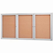 "Aarco 3 Door Framed Illuminated Enclosed Bulletin Board - 72""W x 36""H"