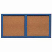 "Aarco 2 Door Framed Enclosed Bulletin Board Blue Powder Coat - 72""W x 36""H"
