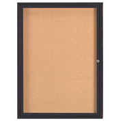 "Aarco 1 Door Framed Enclosed Bulletin Board Bronzed Anod. - 36""W x 48""H"