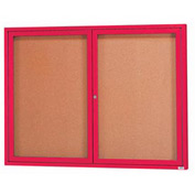 "Aarco 2 Door Framed Enclosed Bulletin Board Red Powder Coat - 60""W x 48""H"