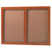 "Aarco 2 Door Frame Wood Look, Oak Enclosed Bulletin Board - 48""W x 36""H"