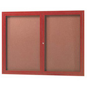 "Aarco 2 Door Frame Wood Look, Cherry Enclosed Bulletin Board - 48""W x 36""H"