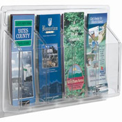 "Clear-Vu Pamphlet Display 4 Pamphlet Pockets - 21""W x 11""H"