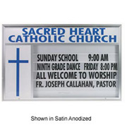 """Aarco Single Sided Marquee w/ Symbol Case And Header Black Powder Coated - 84""""W x 50""""H"""