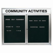 "Aarco 2 Door Enclosed Letter Board Cabinet w/ Header, Illuminated - 48""W x 36""H"