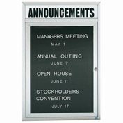 "Aarco 1 Door Enclosed Letter Board Cabinet w/ Header - 36""W x 48""H"