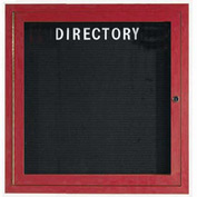 "Aarco 1 Door Aluminum Frame Wood Look, Cherry Enclosed Letter Board - 36""W x 36""H"
