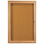 "Aarco 1 Door Oak Enclosed Bulletin Board - 18""W x 24""H"