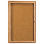 "Aarco 1 Door Oak Enclosed Bulletin Board - 24""W x 36""H"