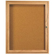 "Aarco 1 Door Oak Enclosed Bulletin Board - 30""W x 36""H"