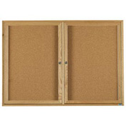 "Aarco 2 Door Oak Enclosed Bulletin Board - 60""W x 36""H"